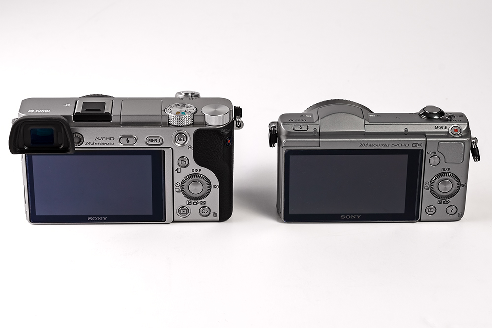 the back of a Sony a6000 and Sony a5000