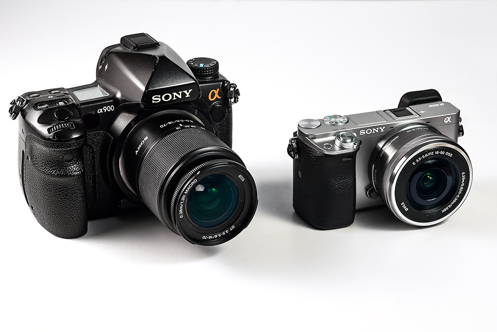 sony a6000 and a900 size comparison