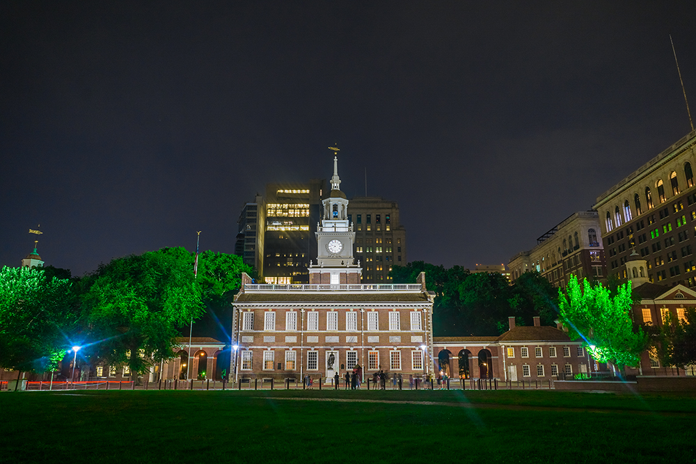 a night time photograph of Independence Hall