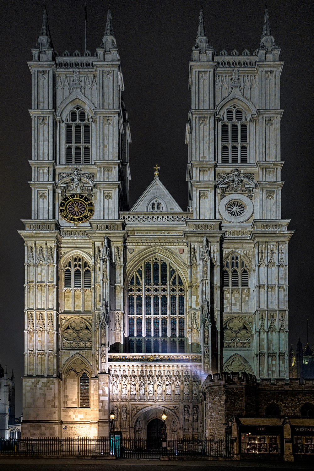 Westminster Abbey photographed at night