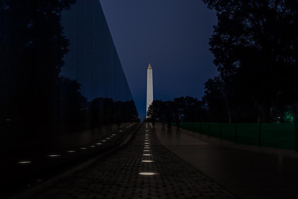 the VIetnam Veterans Memorial at Night