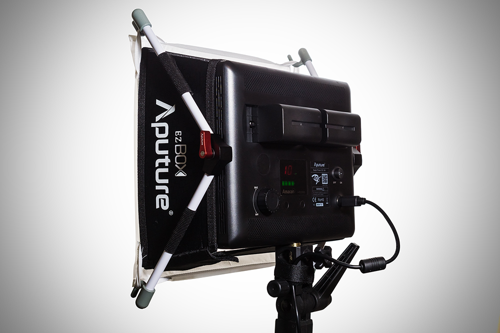 Aputure EZ box and NP-F750 batteries on AL528S